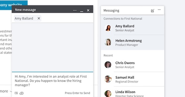 LinkedIn Messaging Overlay