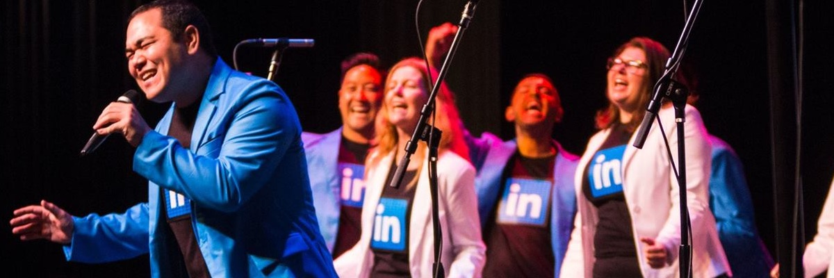 Singing with LinkedIn's InTune a cappella group